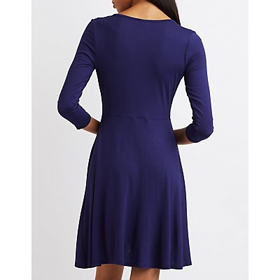 Surplice Neck Wrap Dress