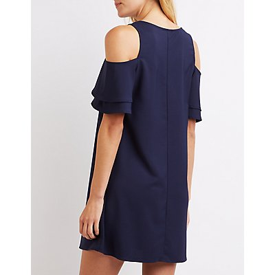 Tiered Cold Shoulder Shift Dress