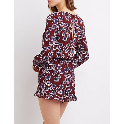 Floral Lattice-Front Romper