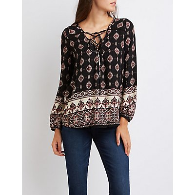 Printed Lace-Up Blouse