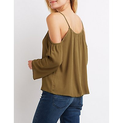 Tassel-Tie Cold Shoulder Blouse