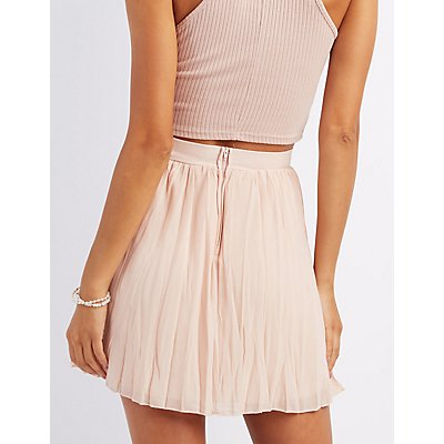 Pleated Chiffon Skater Skirt