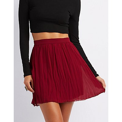 Pleated Chiffon Skater Skirt
