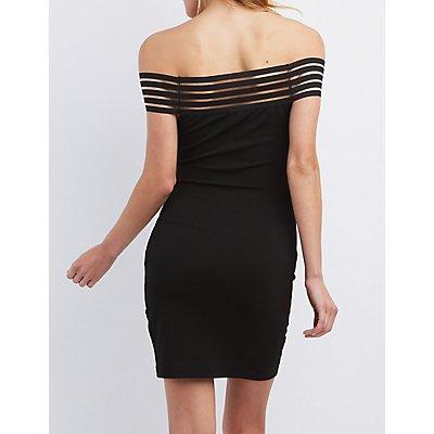 Shadow Stripe Off-the-Shoulder Bodycon Dress