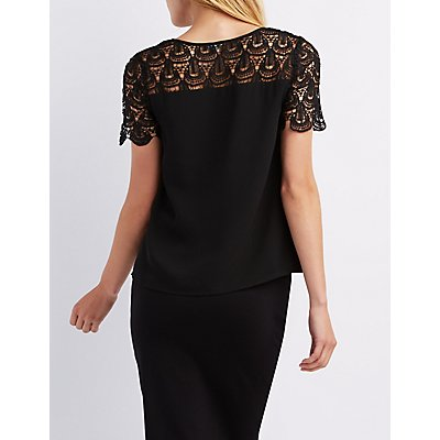 Lace Yoke Pleated Blouse