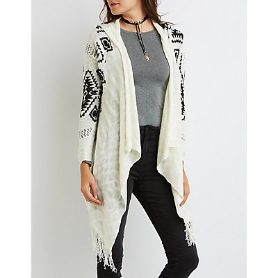 Aztec Hooded Cascade Cardigan