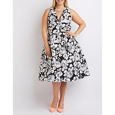 Plus Size Floral Midi Dress