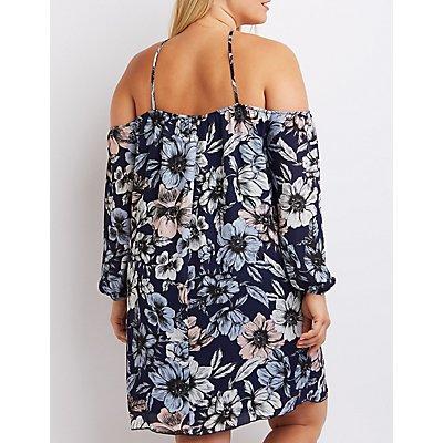 Plus Size Floral Strappy Cold Shoulder Dress