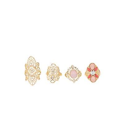Embellished Filigree Rings - 4 Pack