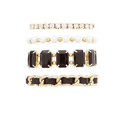 Mixed Chain, Beaded & Rhinestone Layering Bracelets - 4 Pack