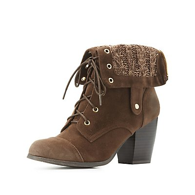 Knit-Trim Lace-Up Booties