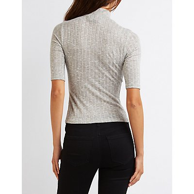 Ribbed Mock Neck Keyhole Top