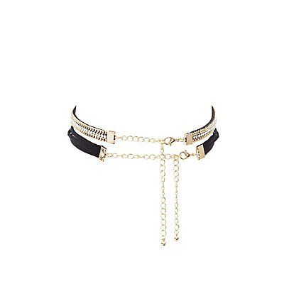Bow Tie & Chainlink Choker Necklaces - 2 Pack