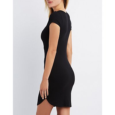 Ribbed Cross Front Bodycon Dress