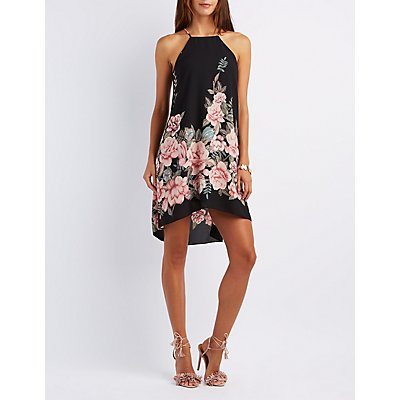 Floral Print Bib Neck Shift Dress