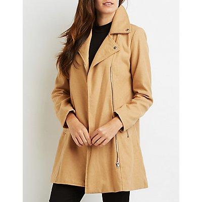 Wool Blend Moto Coat