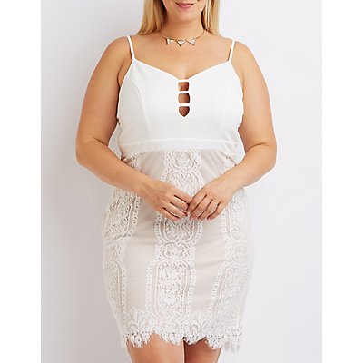 Plus Size Lace Skirt Bodycon Dress