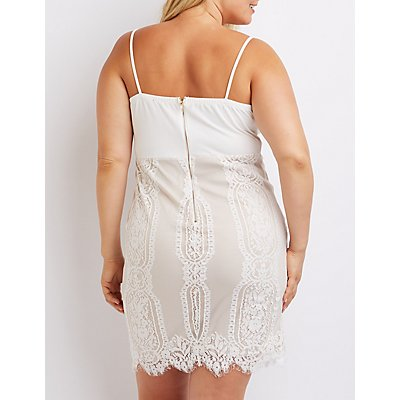 Plus Size Lace Skirt Bodycon Dress