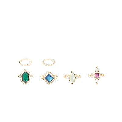 Faceted Gemstone Rings & Midi Rings - 6 Pack