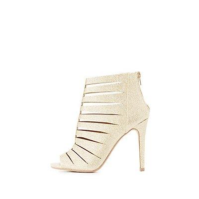Glittery Laser Cut Dress Sandals