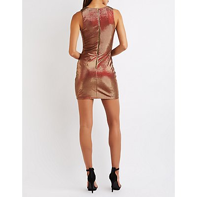 Metallic Plunging Bodycon Dress