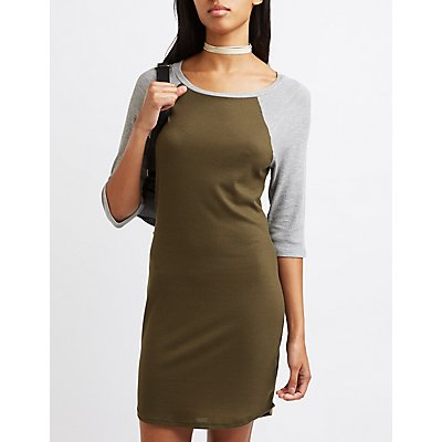Waffle Knit Raglan T-Shirt Dress
