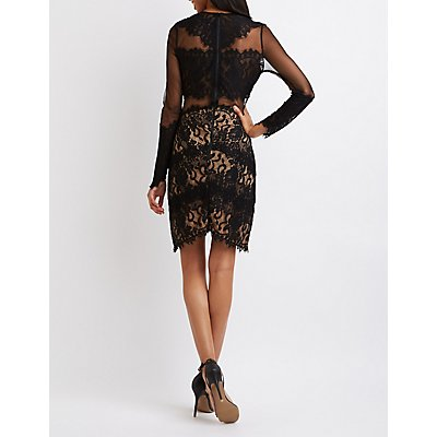 Lace & Mesh Asymmetrical Bodycon Dress