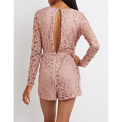 Lace Open Back Surplice Romper