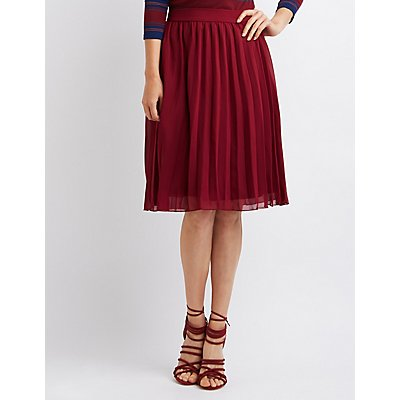 Pleated Chiffon Midi Skirt | Charlotte Russe