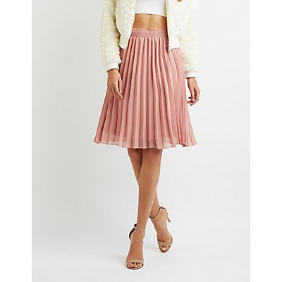 Pleated Chiffon Midi Skirt