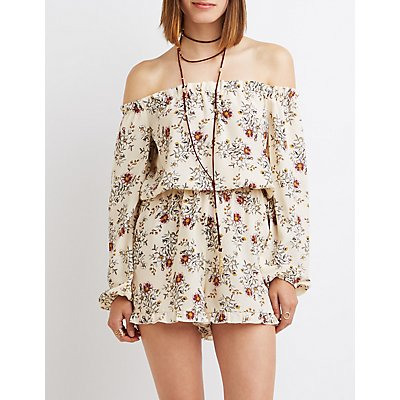 Floral Off-The-Shoulder Ruffle Romper