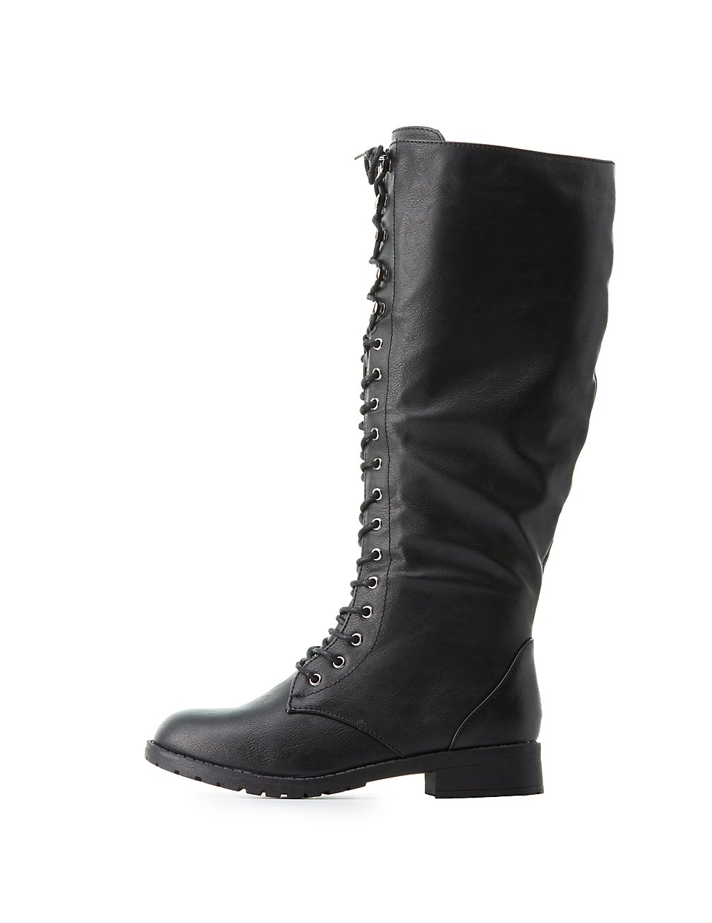 Lace-Up Knee-High Combat Boots   Charlotte Russe