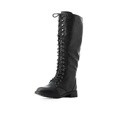 Lace-Up Knee-High Combat Boots | Charlotte Russe
