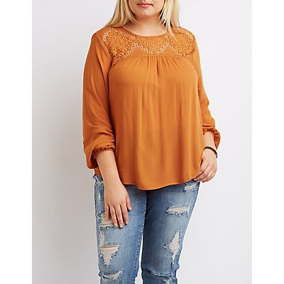 Plus Size Crochet Yoke Blouse