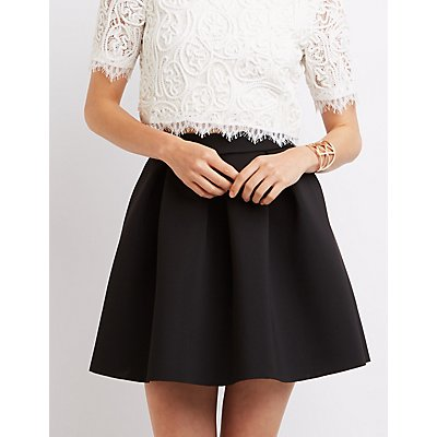 Pleated Full Skater Skirt