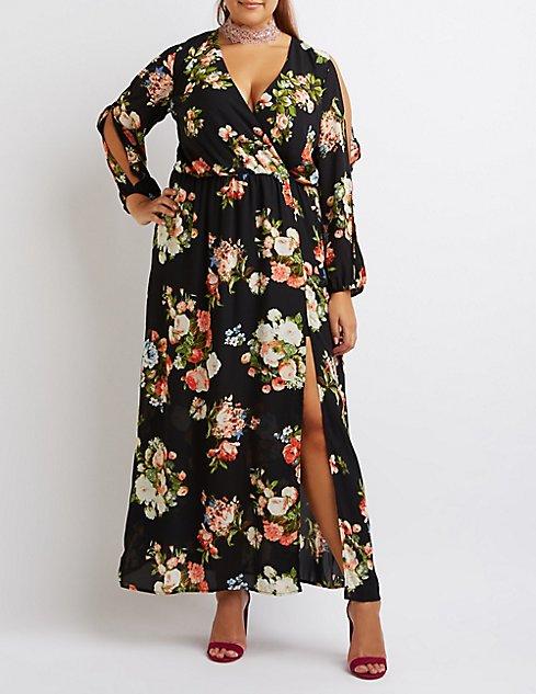 Plus Size Floral Slit Sleeve Maxi Dress | Charlotte Russe