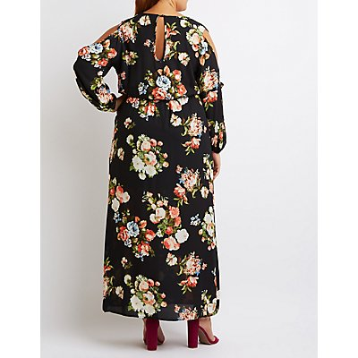 Plus Size Floral Slit Sleeve Maxi Dress