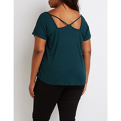 Plus Size Ribbed V-Neck Cut-Out Tee