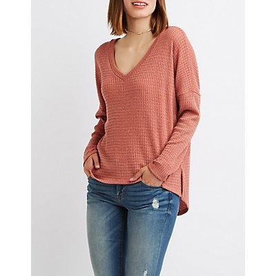 Waffle Knit Strappy-Back Tee