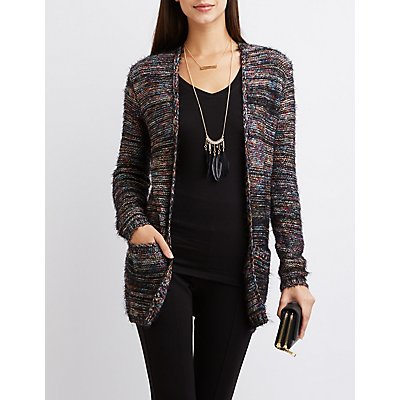 Feathered Knit Pocket Cardigan