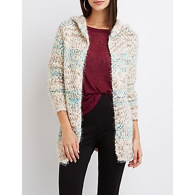 Striped Chunky Knit Hooded Cardigan
