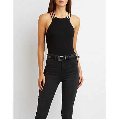 Ribbed Strappy Lattice Bodysuit
