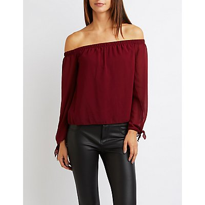 Off-The-Shoulder Tie Sleeve Top