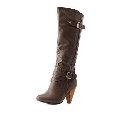 Buckled Almond Toe Boots