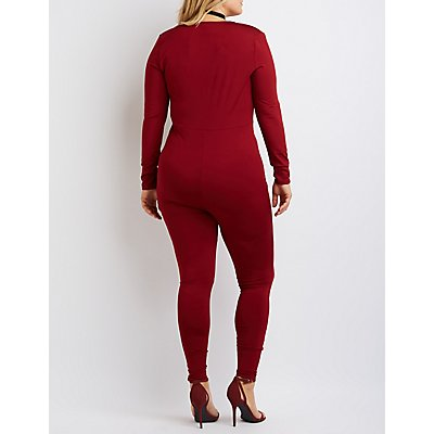 Plus Size Caged Surplice Jumpsuit
