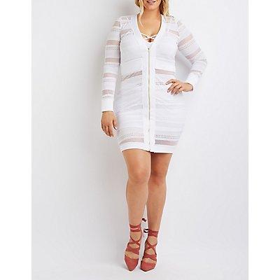 Plus Size Mesh Striped Bodycon Dress