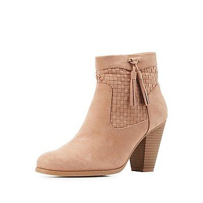 Basket-Weave Tassel Ankle Booties