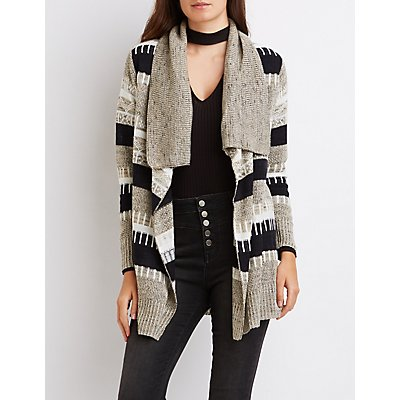 Striped Mixed Knit Cardigan