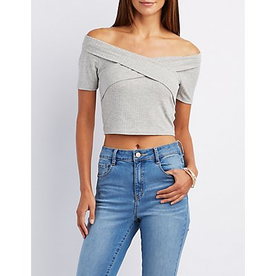 Wrapped Off-The-Shoulder Crop Top