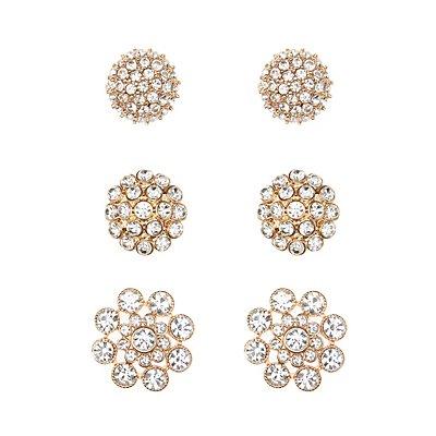 Rhinestone Embellished Stud Earrings - 3 Pack